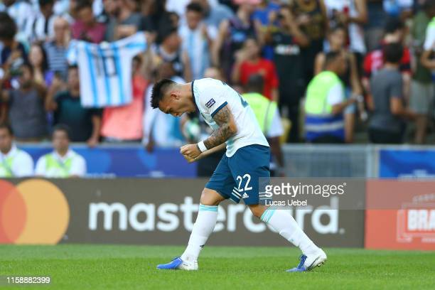 Lautaro Martinez of Argentina celebrates after scoring the opening goal during the Copa America Brazil 2019 quarterfinal match between Argentina and...