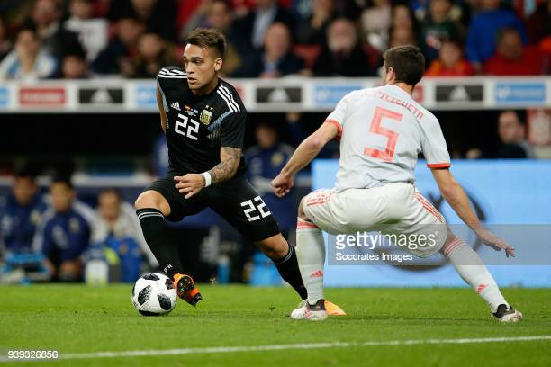 Lautaro Martinez of Argentina Cesar Azpilicueta of Spain during the International Friendly match between Spain v Argentina at the Estadio Wanda...