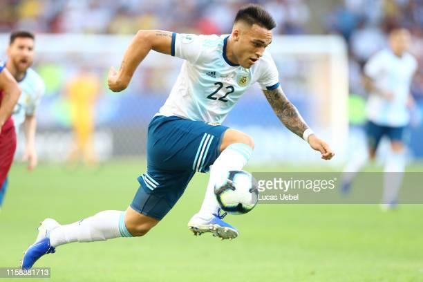 Lautaro Martinez of Argentina controls the ball during the Copa America Brazil 2019 quarterfinal match between Argentina and Venezuela at Maracana...