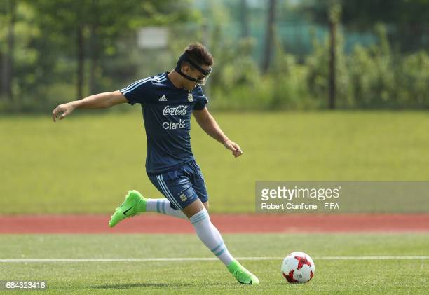 Lautaro Martinez of Argentina kicks the ball during an Argentina training session at the Jeonju World Cup Stadium Auxiliary Field ahead of the FIFA...