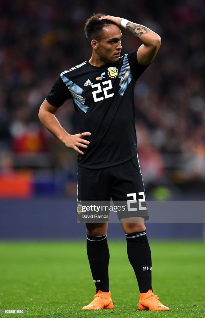Lautaro Martinez of Argentina looks dejected during the International Friendly between Spain and Argentina on March 27, 2018 in Madrid, Spain.