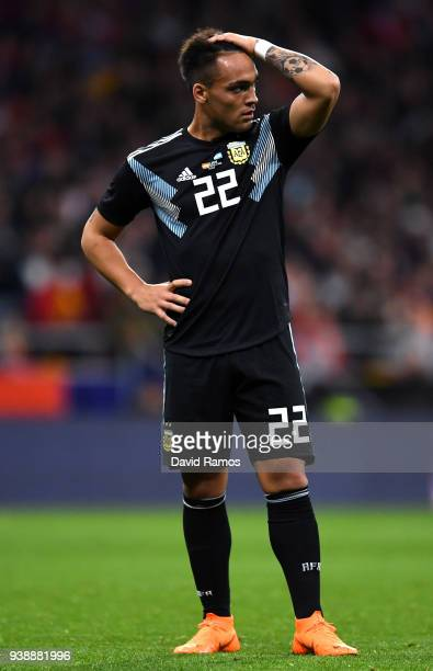 Lautaro Martinez of Argentina looks dejected during the International Friendly between Spain and Argentina on March 27 2018 in Madrid Spain
