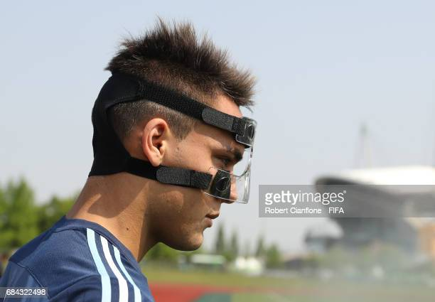 Lautaro Martinez of Argentina looks on during an Argentina training session at the Jeonju World Cup Stadium Auxiliary Field ahead of the FIFA U20...