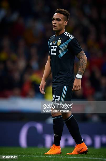 Lautaro Martinez of Argentina looks on during the International friendly match between Spain and Argentina at Metropolitano Stadium on March 27 2018...