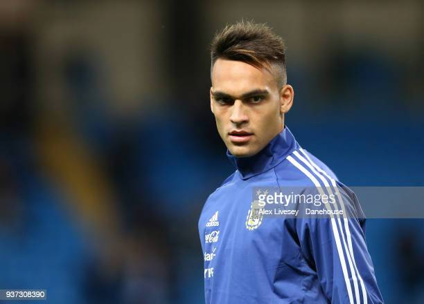 Lautaro Martinez of Argentina looks on during the warm up prior to the International friendly match between Argentina and Italy at Etihad Stadium on...