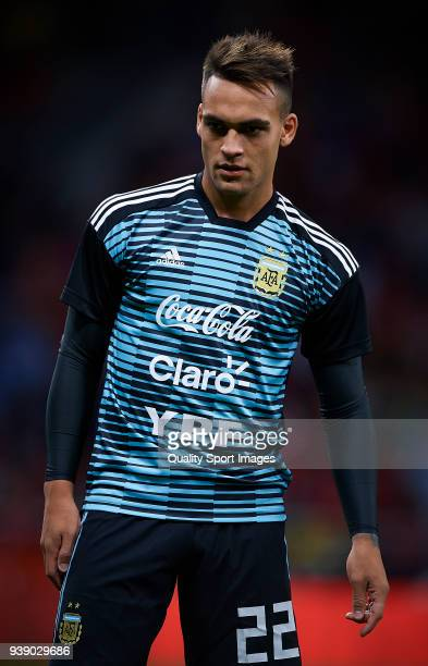 Lautaro Martinez of Argentina looks on prior the International friendly match between Spain and Argentina at Metropolitano Stadium on March 27 2018...
