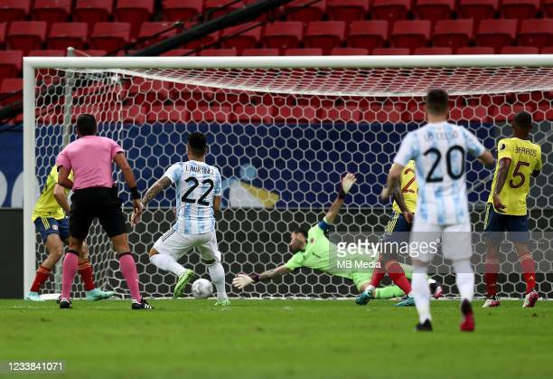 Lautaro Martinez of Argentina scores a goal during the semifinal match between Argentina and Colombia as part of CONMEBOL Copa America Brazil 2021 at...