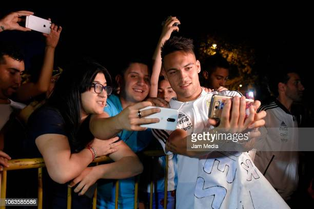 Lautaro Martinez of Argentina takes pictures with fans as arriving to Diplomatic Hotel on November 19 2018 in Mendoza Argentina Argentina will face...