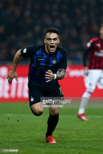 Lautaro Martinez of FC Internazionale celebrate after scoring a goal during the Serie A match between Ac Milan and Internazionale Fc Internazionale...