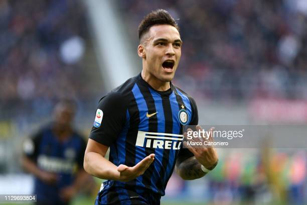 Lautaro Martinez of FC Internazionale celebrates a goal that was later disallowed by the VAR during the Serie A match between FC Internazionale and...