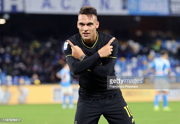 Lautaro Martinez of FC Internazionale celebrates after scoring the 13 goal during the Serie A match between SSC Napoli and FC Internazionale at...