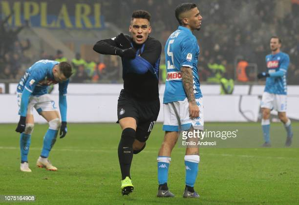 Lautaro Martinez of FC Internazionale celebrates after scoring the opening goal during the Serie A match between FC Internazionale and SSC Napoli at...