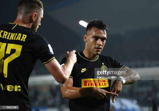 Lautaro Martinez of FC Internazionale celebrates after scoring the opening goal during the Serie A match between Brescia Calcio and FC Internazionale...