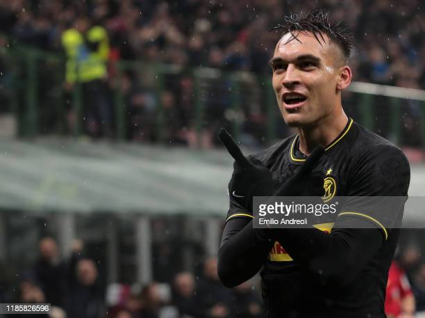 Lautaro Martinez of FC Internazionale celebrates after scoring the opening goal during the Serie A match between FC Internazionale and SPAL at Stadio...