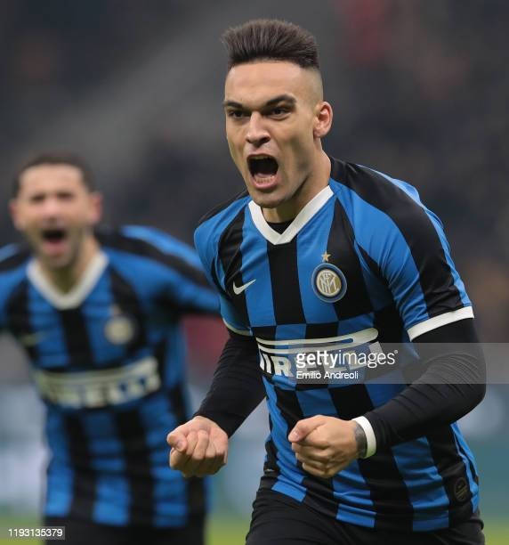 Lautaro Martinez of FC Internazionale celebrates after scoring the opening goal during the Serie A match between FC Internazionale and Atalanta BC at...
