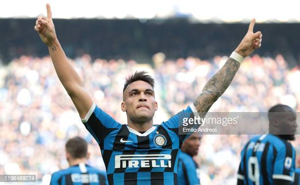 Lautaro Martinez of FC Internazionale celebrates after scoring the opening goal during the Serie A match between FC Internazionale and Cagliari...