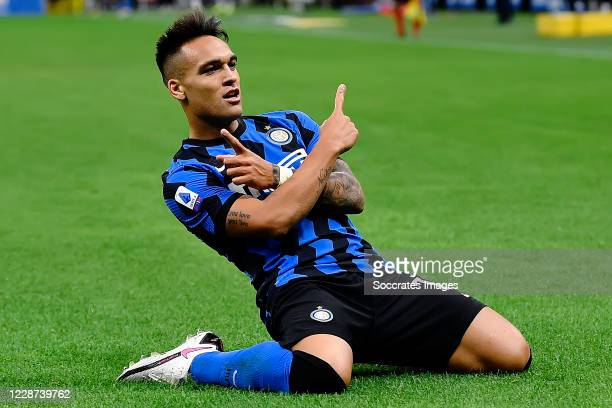 Lautaro Martinez of FC Internazionale celebrates after scoring the goal during the Italian Serie A match between Internazionale v Fiorentina at the...