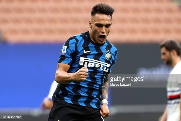 Lautaro Martinez of FC Internazionale celebrates after scoring their team's fifth goal during the Serie A match between FC Internazionale and UC...