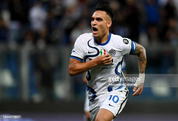 Lautaro Martinez of FC Internazionale celebrates after scoring their team's second goal from the penalty spot during the Serie A match between US...