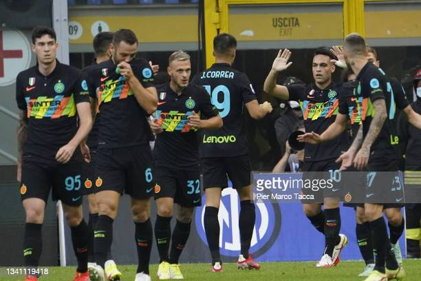 Lautaro Martinez of FC Internazionale celebrates his first goal during the Serie A match between FC Internazionale and Bologna FC at Stadio Giuseppe...