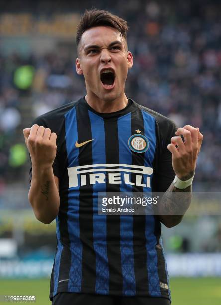 Lautaro Martinez of FC Internazionale celebrates his goal that will be disallowed from VAR during the Serie A match between FC Internazionale and...