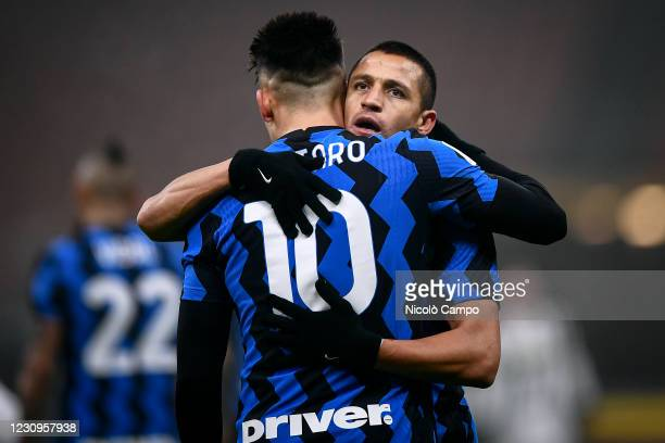 Lautaro Martinez of FC Internazionale celebrates with Alexis Sanchez of FC Internazionale after scoring goal during the Coppa Italia football match...