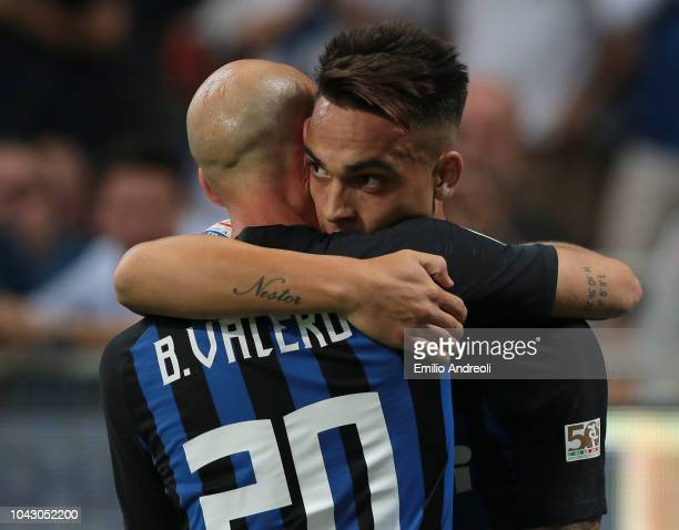 Lautaro Martinez of FC Internazionale celebrates with his teammate Borja Valero after scoring the opening goal during the Serie A match between FC...