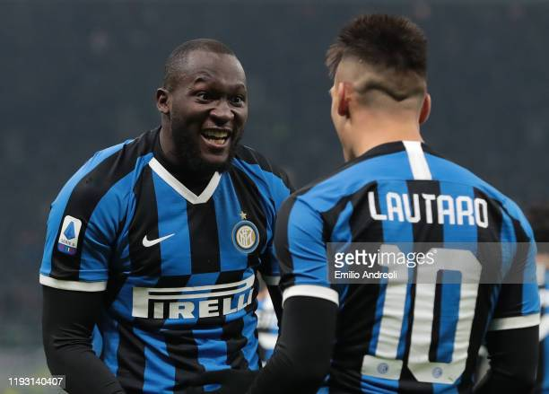 Lautaro Martinez of FC Internazionale celebrates with his teammate Romelu Lukaku after scoring the opening goal during the Serie A match between FC...