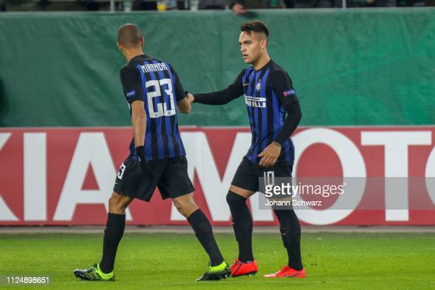 Lautaro Martinez of FC Internazionale celebrates with Joan Miranda of FC Internazionale after scoring the first goal of his team during the UEFA...