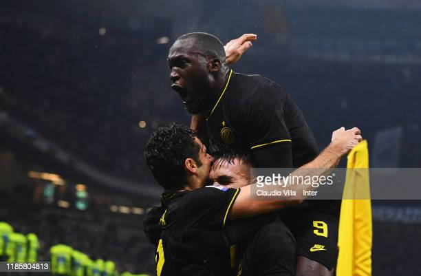 Lautaro Martinez of FC Internazionale celebrates with Romalu Lukaku after scoring the second goal during the Serie A match between FC Internazionale...
