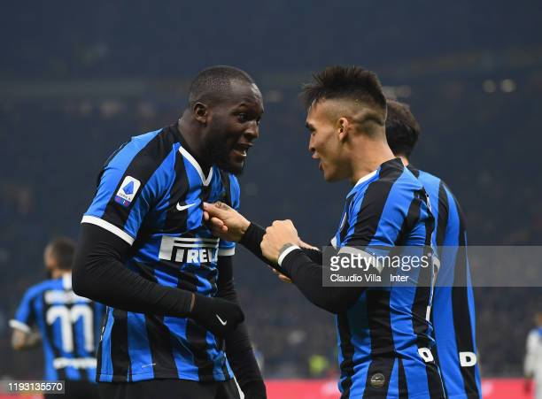 Lautaro Martinez of FC Internazionale celebrates with teammate Romelu Lukaku after scoring the opening goal during the Serie A match between FC...