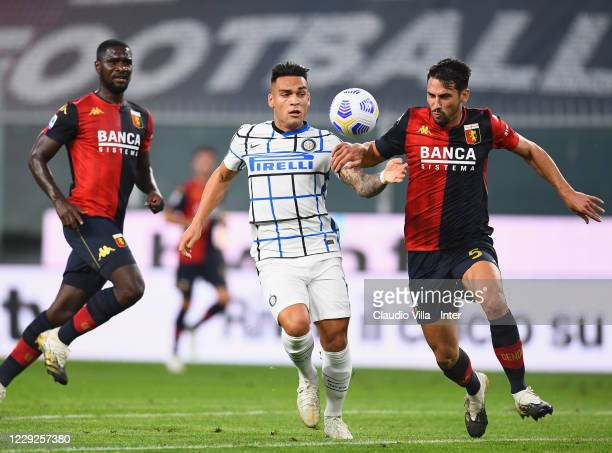Lautaro Martinez of FC Internazionale competes for the ball with Edoardo Goldaniga of Genoa CFC during the Serie A match between Genoa CFC and FC...