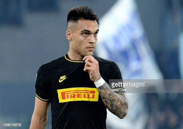 Lautaro Martinez of FC Internazionale gestures during the Serie A match between SS Lazio and FC Internazionale at Stadio Olimpico on February 16 2020...