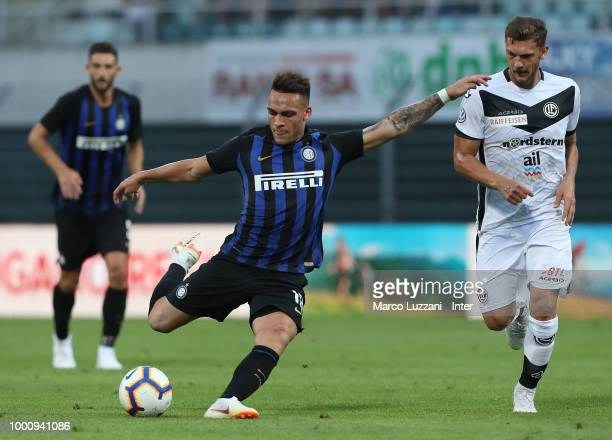 Lautaro Martinez of FC Internazionale in action during the pre-season friendly match between Lugano and FC Internazionale on July 14, 2018 in Lugano,...