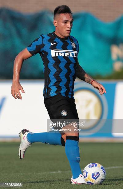 Lautaro Martinez of FC Internazionale in action during the PreSeason Friendly match between FC Internazionale and Lugano at the club's training...