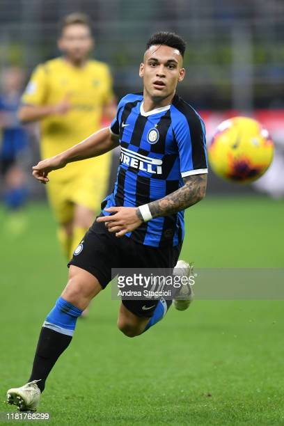 Lautaro Martinez of FC Internazionale in action during the Serie A football match between FC Internazionale and Hellas Verona FC Internazionale won...