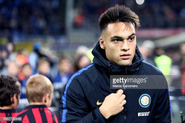 Lautaro Martinez of FC Internazionale looks on before the Serie A match between FC Internazionale and AC Milan Inter Milan defeated AC Milan 10