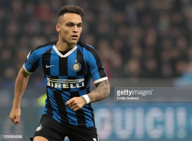 Lautaro Martinez of FC Internazionale looks on during the Coppa Italia Semi Final match between FC Internazionale and SSC Napoli at Stadio Giuseppe...