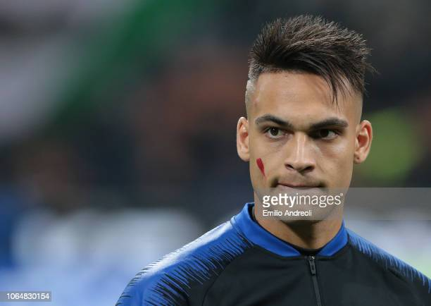 Lautaro Martinez of FC Internazionale looks on prior to the Serie A match between FC Internazionale and Frosinone Calcio at Stadio Giuseppe Meazza on...