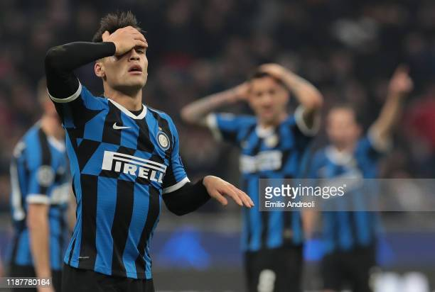 Lautaro Martinez of FC Internazionale reacts after misses a chance of a goal during the UEFA Champions League group F match between FC Internazionale...