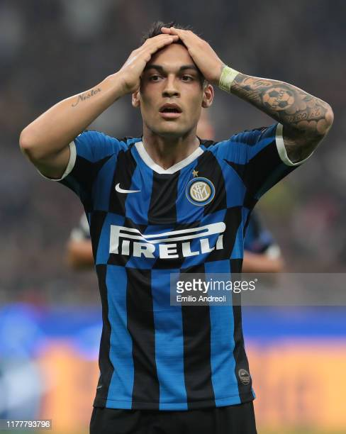 Lautaro Martinez of FC Internazionale reacts after missing a penalty kick during the UEFA Champions League group F match between FC Internazionale...