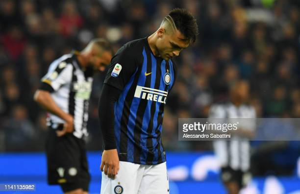 Lautaro Martinez of FC Internazionale reacts during the Serie A match between Udinese and FC Internazionale at Stadio Friuli on May 4 2019 in Udine...