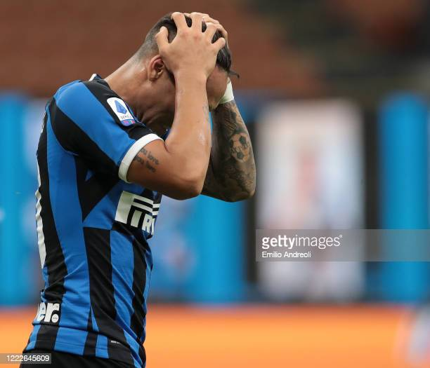 Lautaro Martinez of FC Internazionale reacts during the Serie A match between FC Internazionale and US Sassuolo at Stadio Giuseppe Meazza on June 24...