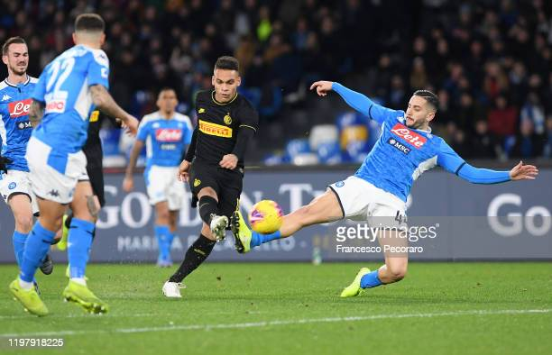 Lautaro Martinez of FC Internazionale vies with Kostantinos Manolas of SSC Napoli during the Serie A match between SSC Napoli and FC Internazionale...