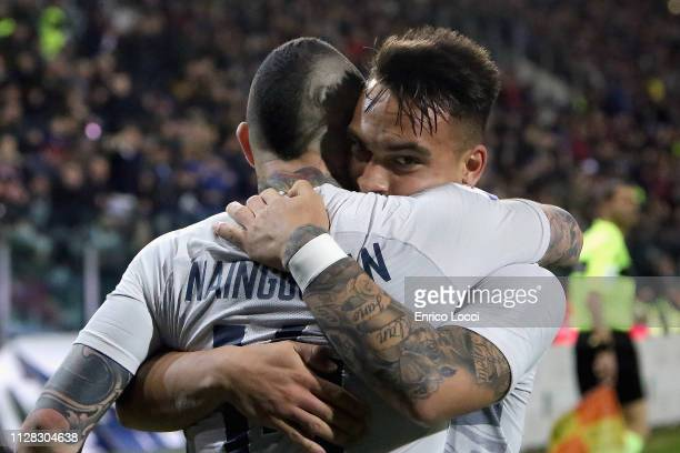 Lautaro Martinez of Inter celebrates his goal 11 during the Serie A match between Cagliari and FC Internazionale at Sardegna Arena on March 1 2019 in...