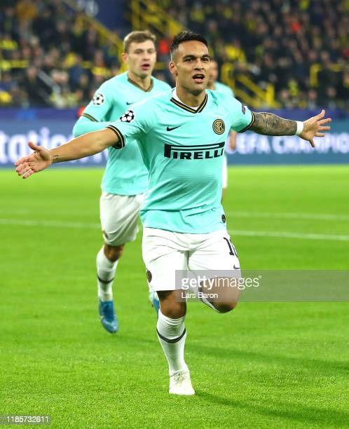 Lautaro Martinez of Inter Milan celebrates after scoring his team's first goal during the UEFA Champions League group F match between Borussia...