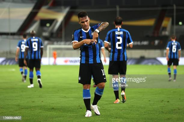 Lautaro Martinez of Inter Milan celebrates after scoring his team's third goal during the UEFA Europa League Semi Final between Internazionale and...