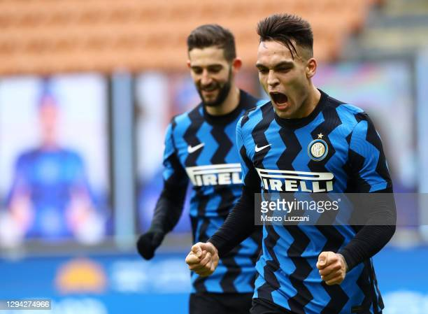 Lautaro Martinez of Inter Milan celebrates after scoring their sides fifth goal during the Serie A match between FC Internazionale and FC Crotone at...