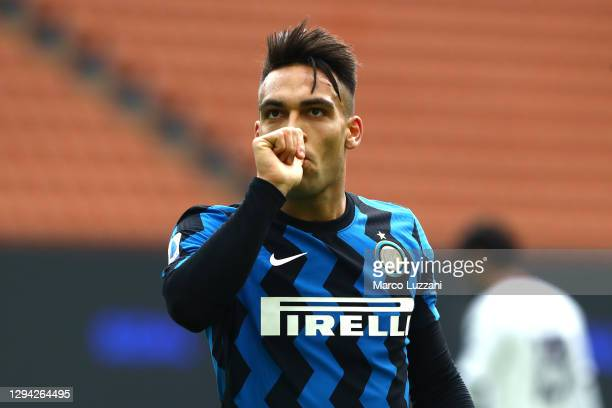Lautaro Martinez of Inter Milan celebrates after scoring their team's first goal during the Serie A match between FC Internazionale and FC Crotone at...