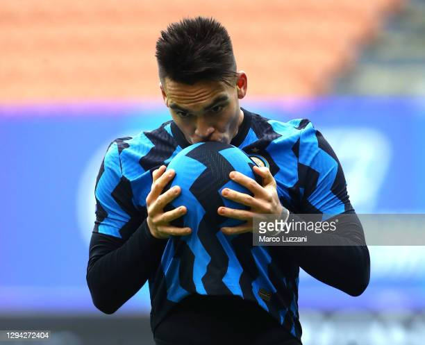 Lautaro Martinez of Inter Milan celebrates after scoring their team's third goal during the Serie A match between FC Internazionale and FC Crotone at...